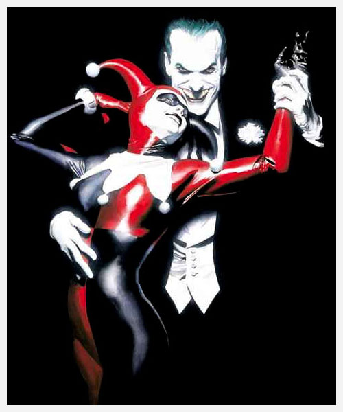 alex ross' the joker and harlequin wallpaper