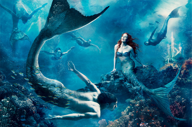 Julianne Moore and Michael Phelps in The Little Mermaid