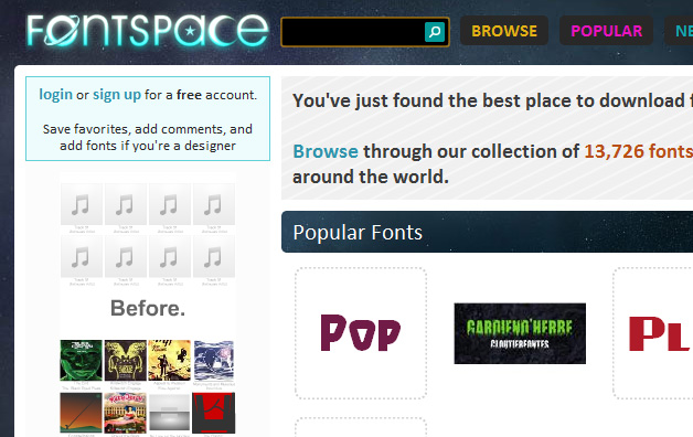 fontspace.com - browse through their collection of 13,726 fonts